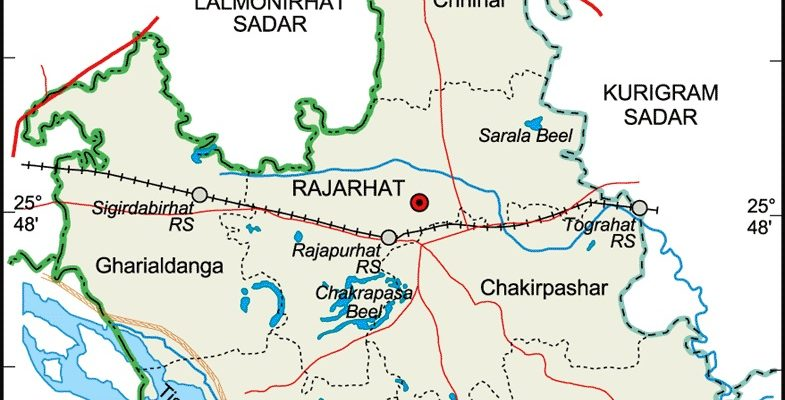 Rajarhat Upazila Map Kurigram District Bangladesh